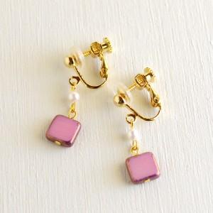 スクエアイヤリング01(ピンク)